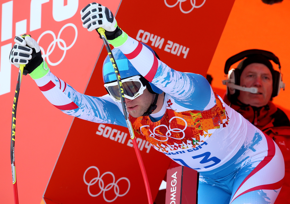 . Romed Baumann of Austria competes during the Alpine Skiing Men\'s Super Combined Downhill on day 7 of the Sochi 2014 Winter Olympics at Rosa Khutor Alpine Center on February 14, 2014 in Sochi, Russia.  (Photo by Alexander Hassenstein/Getty Images)