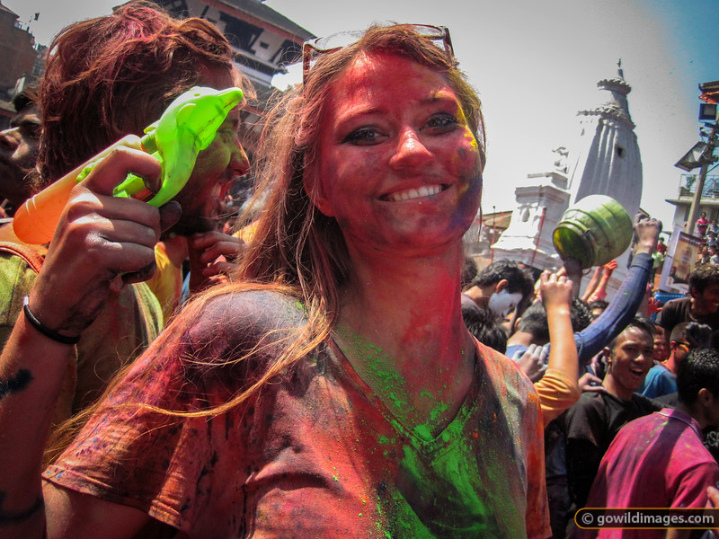 Holi - festival of colour - celebrations culminated in a dance party in Durbar Square. Tourists and locals alike got into the spirit by spraying water and throwing coloured dye.