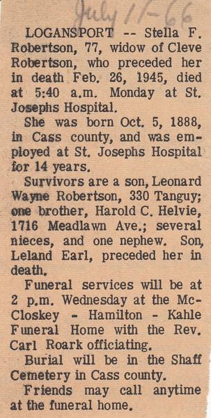 Newspaper Clipping - Obituary - Stella F. Robertson - July 11, 1966.jpg