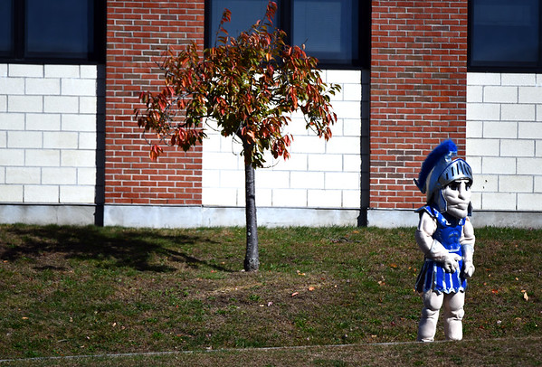 10/19/2019 Mike Orazzi | StaffrThe Lewis Mills Spartan mascot during the Berlin football game in Burlington on Saturday.