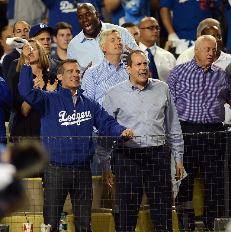 . Los Angeles Mayor Eric Garcetti  cheers for the Dodgers during game 3 of the NLCS at Dodger Stadium Monday, October 14, 2013. The Dodgers beat the Cardinals 3-0. (Photo by Hans Gutknecht/Los Angeles Daily News)
