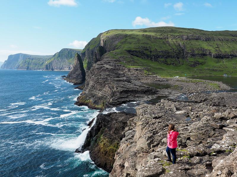 Overlooking Bøsdalafossur in the Faroe Islands