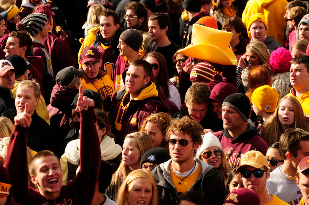 . The crowd rushed onto the field  as the University of Minnesota Golden Gophers beat the Nebraska Cornhuskers for the first time since 1960, 34-23 at TCF Bank Stadium.  (Pioneer Press: Scott Takushi)