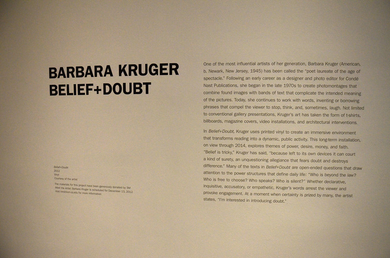 Smithsonian Institution Hirshhorn Museum and Sculpture Garden  Barbara Kruger, Belief + Doubt