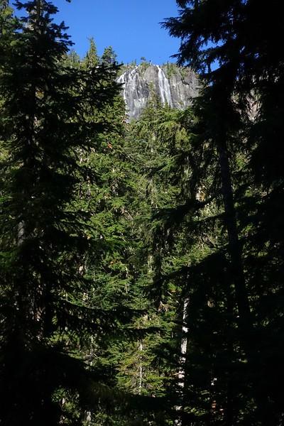 View of Della Falls while climbing the Love Lake trail.