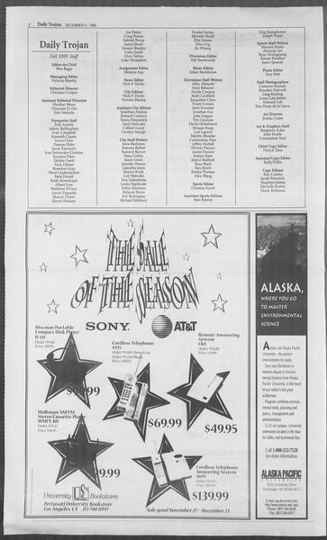 Daily Trojan, Vol. 126, No. 62, December 04, 1995