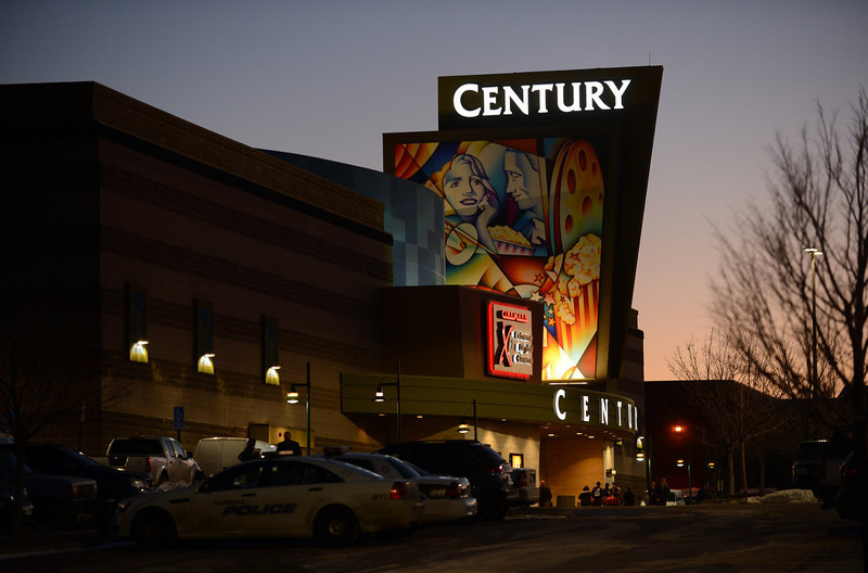 . AURORA, CO - JANUARY 17: The Century Aurora movie theater lights up for the reopening. The movie theater where a gunman killed 12 people and wounded dozens of others reopened with a private ceremony for victims, first responders and officials. (Photo By Hyoung Chang / The Denver Post)