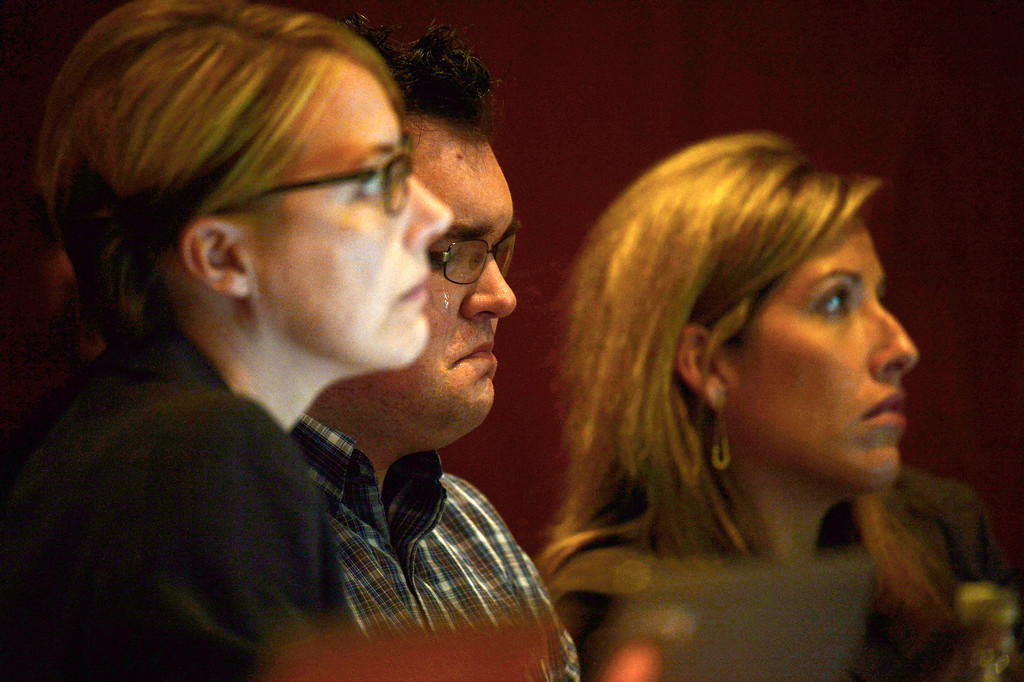 . Tears roll down the face of Austin Sigg, center, in district court in Golden, Colo., on Monday, Nov. 18, 2013, during his sentencing phase. Sigg, 18, pleaded guilty last month to kidnapping and killing Jessica Ridgeway in Westminster in October 2012. (Photo by RJ Sangosti/The Denver Post)