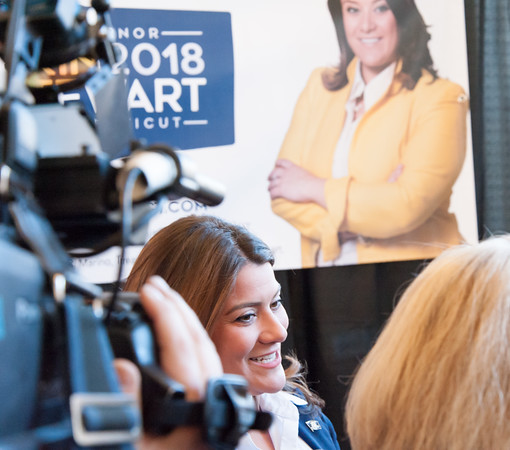 03/19/18 Wesley Bunnell   Staff New Britain Mayor Erin Stewart is interviewed by media at CCSU's Founders Hall on Monday afternoon after officially announcing her candidacy for CT Governor for the 2018 election.