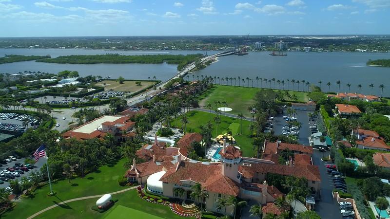 Aerial pull out shot Mar A Lago Palm Beach Florida