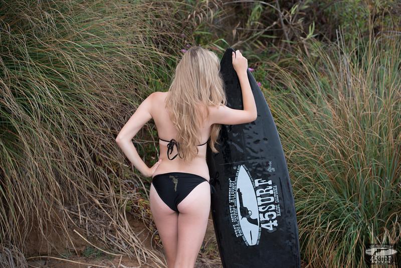 Nikon D800E Photos of Pretty Blond Swimsuit Bikini Model Goddess & Black Surfboard: 70-200mm VR2 Nikkor F/2.8 Zoom