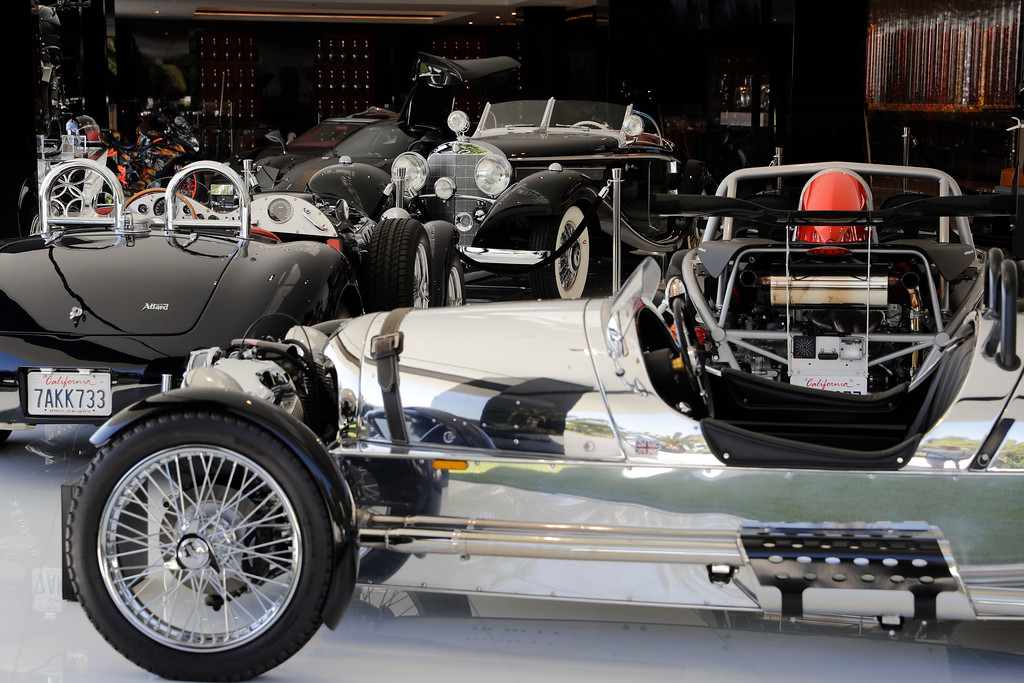 . This Thursday, Jan. 26, 2017, photo shows classic cars valued over $30 million in the garage area of a $250 million mansion in the Bel-Air area of Los Angeles. The mansion, the most expensive home listed in the U.S., includes 12 bedroom suites, 21 bathrooms, five bars, three gourmet kitchens, a spa and an 85-foot infinity swimming pool with stunning views of Los Angeles. (AP Photo/Jae C. Hong)