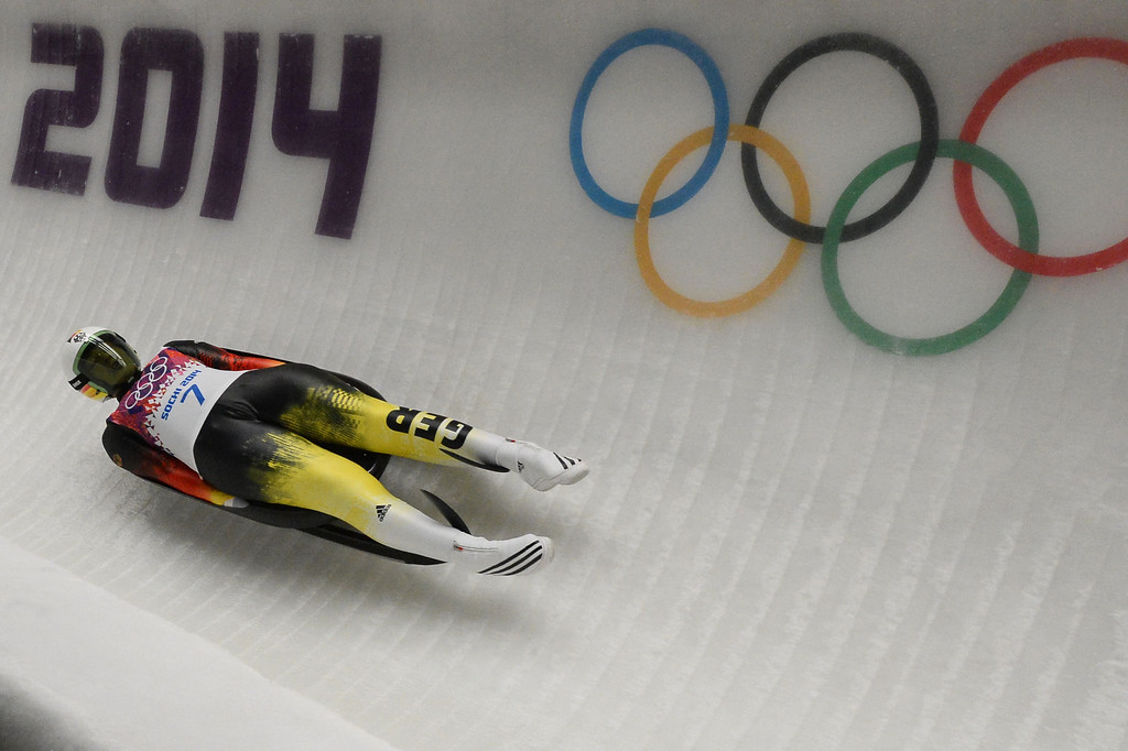 . Germany\'s Anke Wischnewski competes during the Women\'s Luge Singles run two at the Sliding Center Sanki during the Sochi Winter Olympics on February 10, 2014.   AFP PHOTO / LIONEL  BONAVENTURE/AFP/Getty Images
