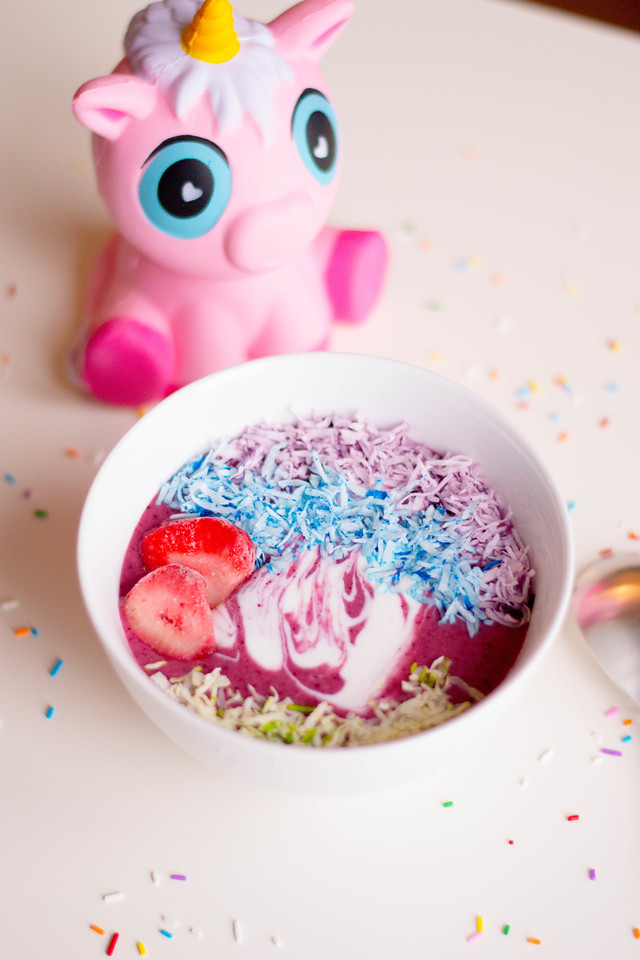 This is a unicorn breakfast fit for a unicorn kid, or any kid or adult, for that matter. What's not to love with pretty food in pretty colors with SPRINKLES