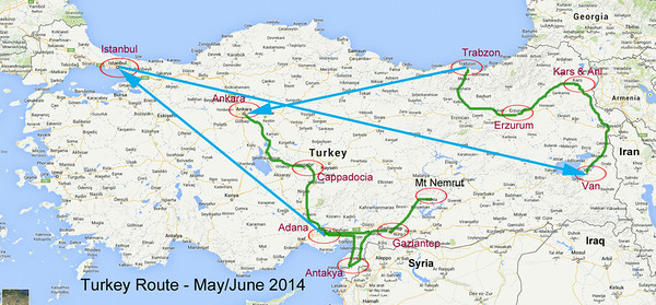 Turkey - Travel Route Map
