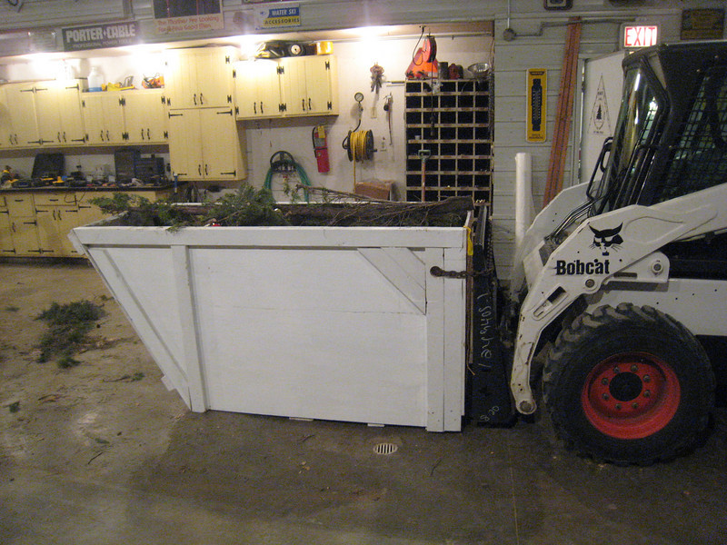 New fork lift dumpster for waste when we make wreaths