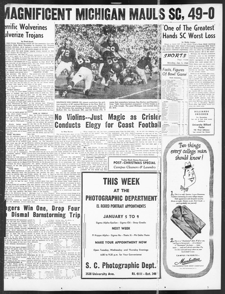 Daily Trojan, Vol. 39, No. 68, January 05, 1948