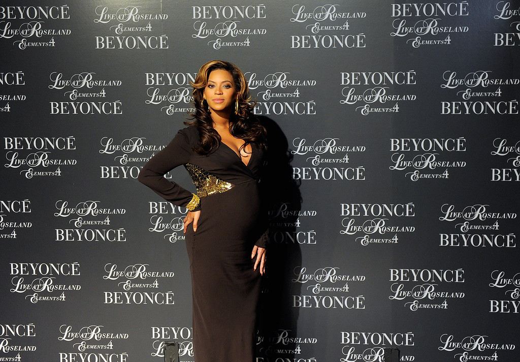 ". Singer Beyonce hosts the screening of ""Live at Roseland: The Elements of 4\"" at the Paris Theatre on November 20, 2011 in New York City.  (Photo by Jemal Countess/Getty Images)"