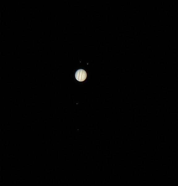 Jupiter and the four Galilean Moons - 26/2/2013 (Processed video stack)