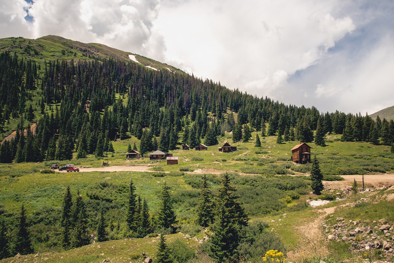 View of the entire Animas Forks town from the jeep road