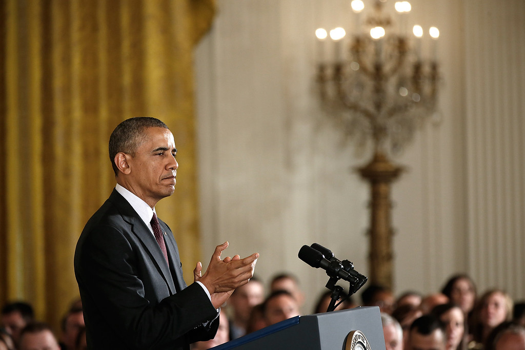 . U.S. President Barack Obama speaks during a ceremony to award the Medal of Honor to U.S. Army Sgt. Kyle J. White in the East Room of the White House May 13, 2014 in Washington, DC.  (Photo by Win McNamee/Getty Images)