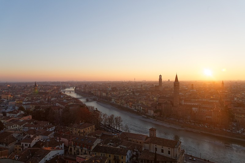 Verona, Italy skyline at sunset