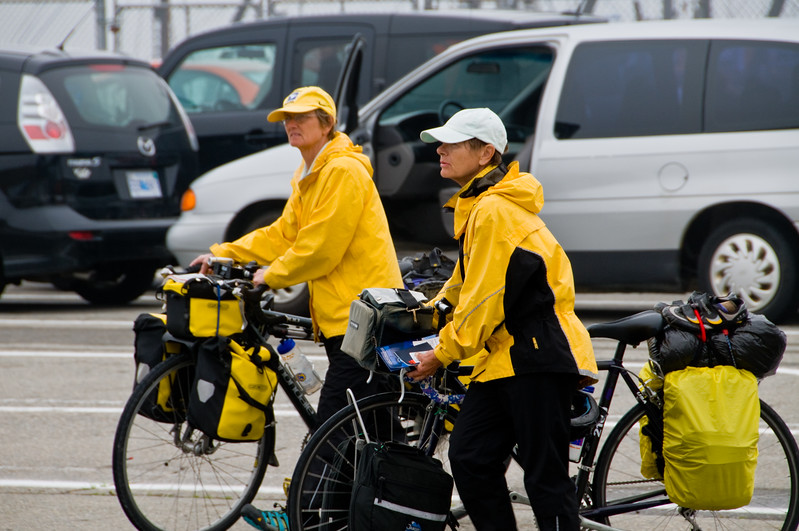 Some cyclists getting ready to board the ferry.
