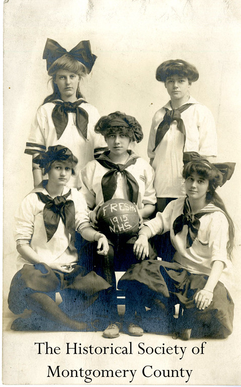 . This photo from the Historical Society of Montgomery County shows Norristown High School\'s girls\' basketball team in 1915.