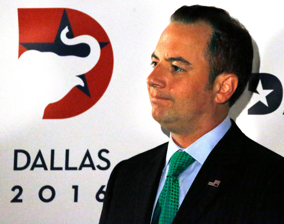 . Republican National Committee chairman Reince Priebus talks during a press conference at the American Airlines Center, as they are courted by the city for the 2016 national convention, on Thursday, June 12, 2014.  (Louis DeLuca/Dallas Morning News)