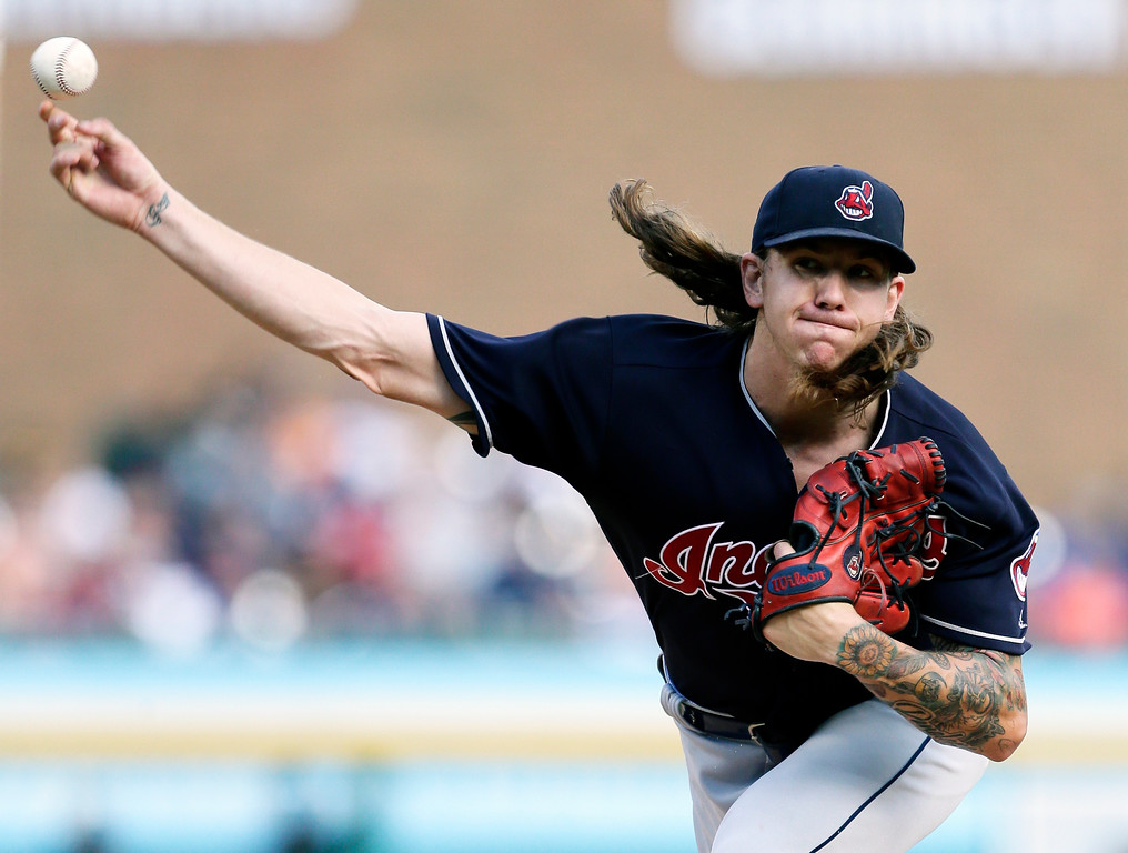 . Cleveland Indians\' Mike Clevinger pitches to a Detroit Tigers batter during the second inning of a baseball game Saturday, July 28, 2018, in Detroit. (AP Photo/Duane Burleson)
