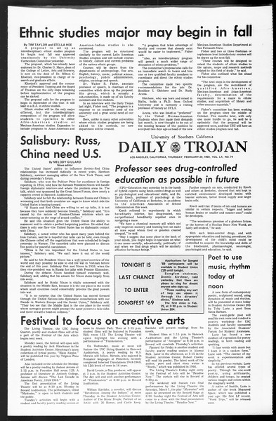 Daily Trojan, Vol. 60, No. 74, February 20, 1969
