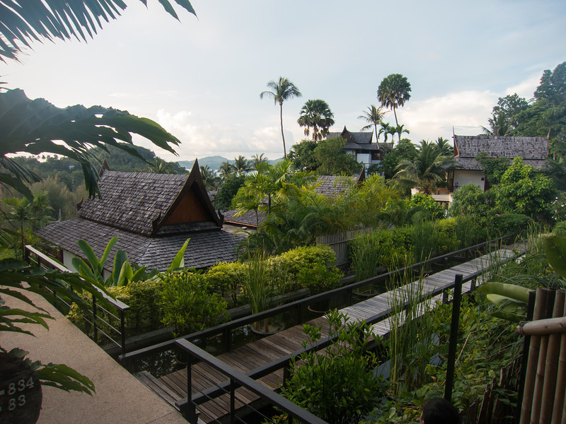 One of the pathways down to the lobby, restaurant, hotel pool, and spa.