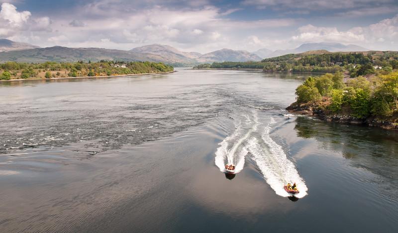 Speed boats on Scottish Loch Etive