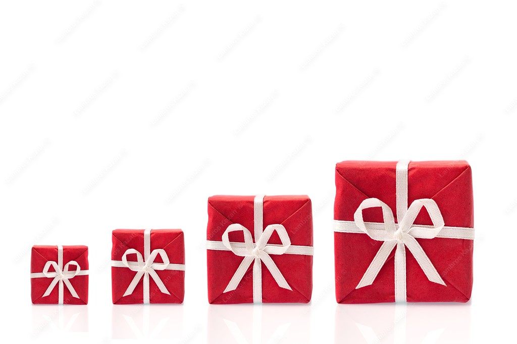 9768738 - ask  for more, four red gift boxes in a row, in different sizes,  isolated on white bakcground with space for text (detailed large file)