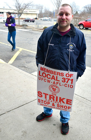 4/12/2019 Mike Orazzi | Staff Forestville Stop & Shop Deli worker Jeremy Duval while on strike Friday afternoon in Bristol.
