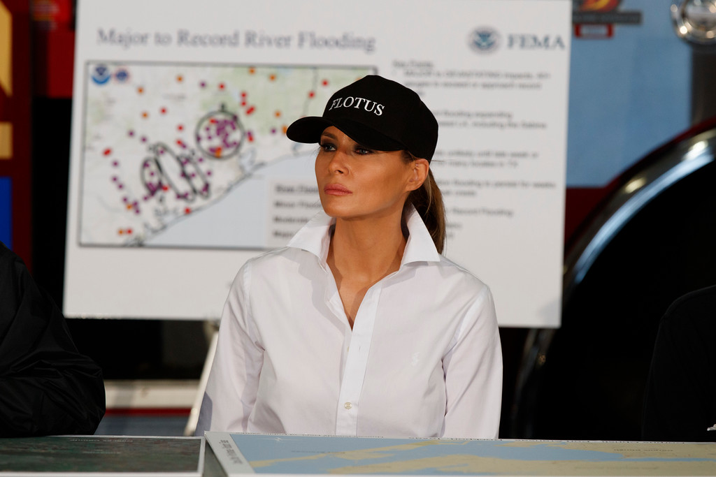 . First lady Melania Trump listens during a briefing on Harvey relief efforts, Tuesday, Aug. 29, 2017, in Corpus Christi, Texas. (AP Photo/Evan Vucci)