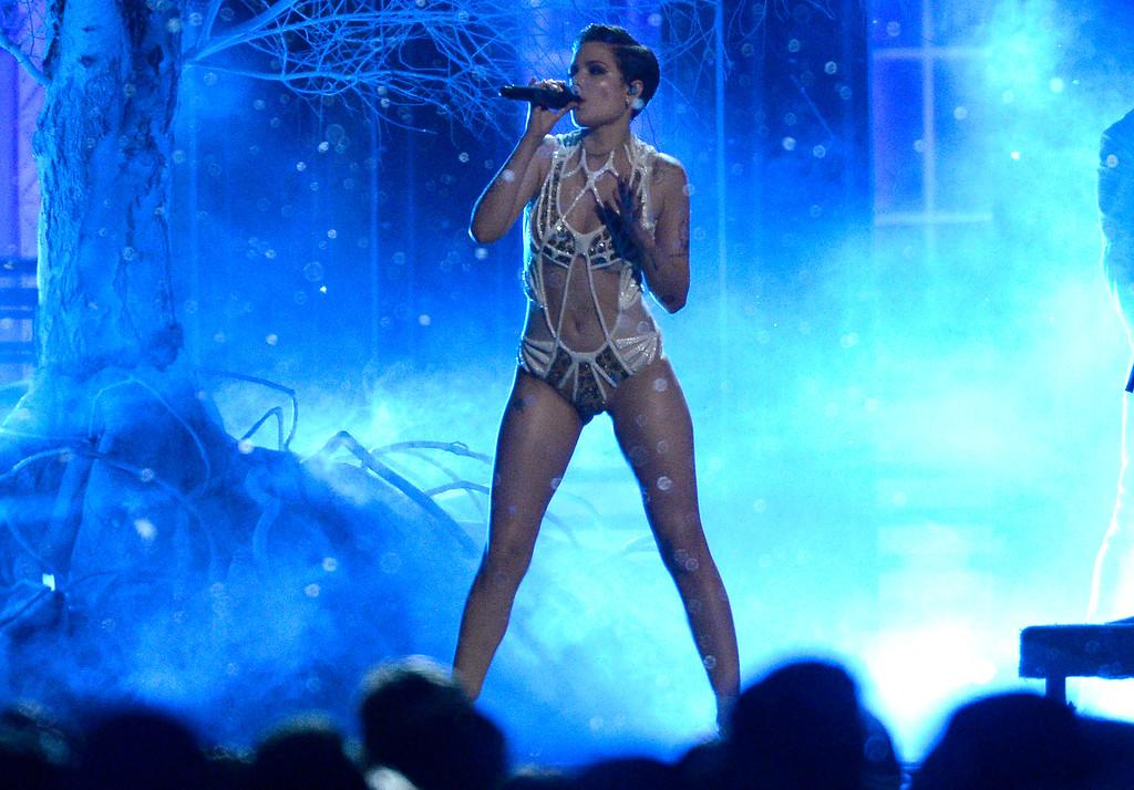 . Halsey performs at the MTV Movie Awards at Warner Bros. Studio on Saturday, April 9, 2016, in Burbank, Calif. (Kevork Djansezian/Pool Photo via AP)