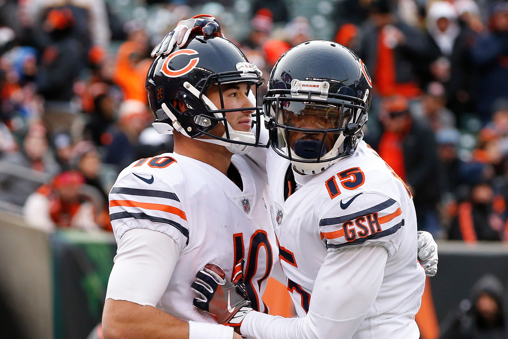 . Chicago Bears quarterback Mitchell Trubisky, left, celebrates his touchdown with wide receiver Josh Bellamy (15) in the second half of an NFL football game against the Cincinnati Bengals, Sunday, Dec. 10, 2017, in Cincinnati. (AP Photo/Gary Landers)