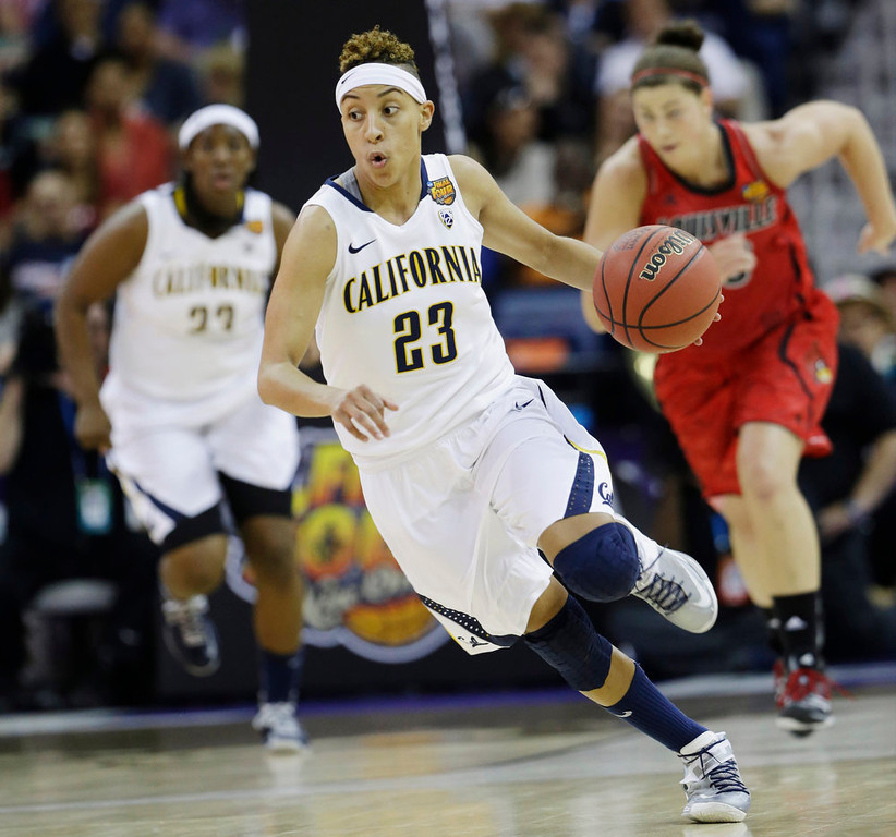 . California guard Layshia Clarendon (23) drives in the first half of a national semifinal against Louisville at the Women\'s Final Four of the NCAA college basketball tournament, Sunday, April 7, 2013, in New Orleans. (AP Photo/Dave Martin)