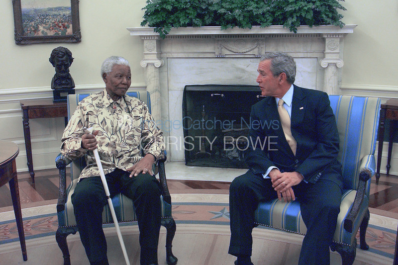 President Bush welcomes former South African President Nelson Mandella to the Oval Office . Mandella said it would be his final visit to the United States.