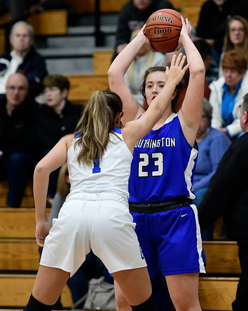 3/5/2020 Mike Orazzi | StaffrSouthington's Megan Mikosz (23) during the Class LL Second Round of the CIAC 2020 State Girls Basketball Tournament at Glastonbury High School on Thursday night. r