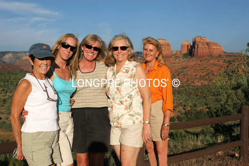 Group of Ladies standing by GAZEBO with CATHEDRAL ROCK in background.
