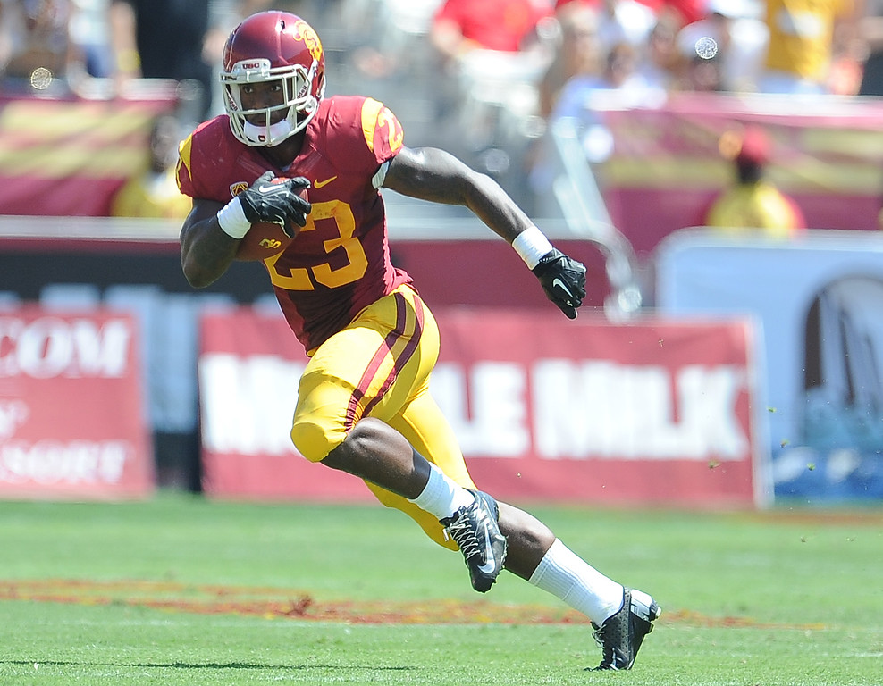 . Southern California running back Tre Madden (23) against Boston College during the first half of an NCAA college football game in the Los Angeles Memorial Coliseum in Los Angeles, on Saturday, Sept. 14, 2013.
