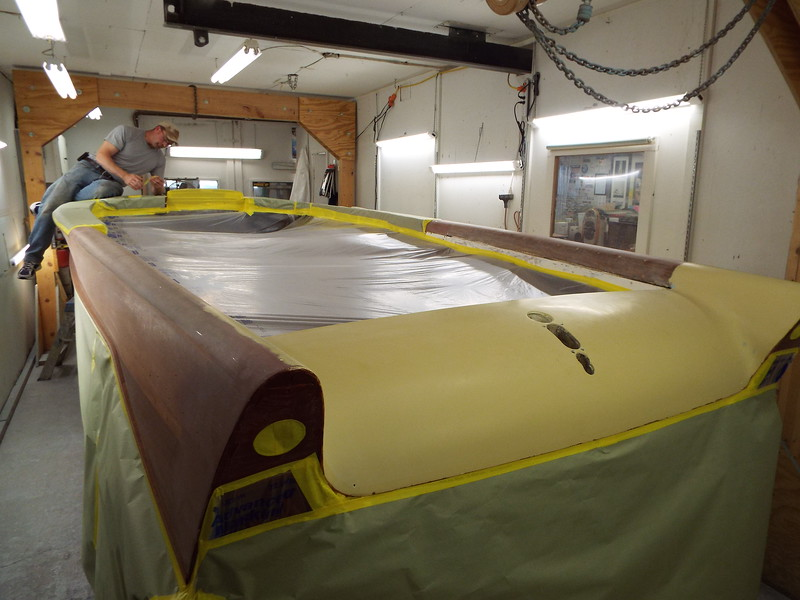 Rear port view of the varnish being masked off.