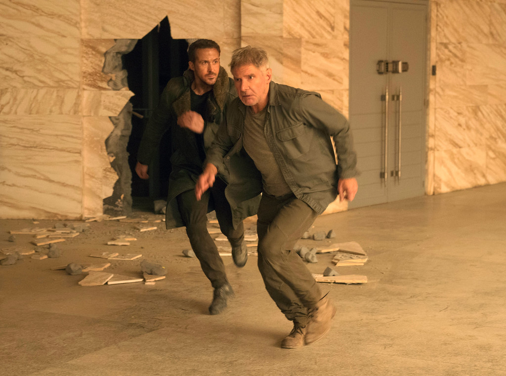 ". Ryan Gosling, left, and Harrison Ford in a scene from ""Blade Runner 2049,\"" in theaters Oct. 6. (Stephen Vaughan/Warner Bros. Pictures via AP)"