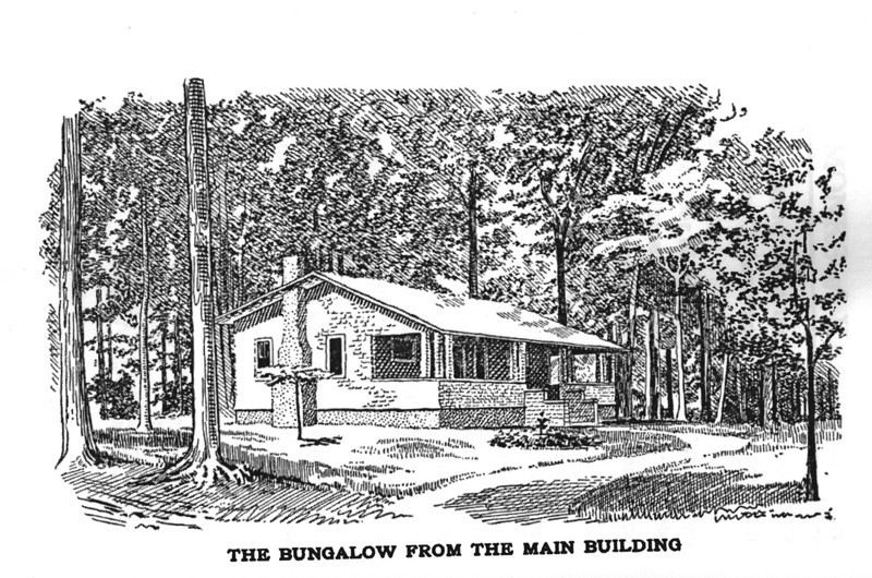 "A rare discovery of a drawing of  a sleeping cabin that is presently The Girl Scout Field House in Friberger Park. This drawing is from the book titled ""My Monks of Vagabondia"" by Andress Floyd which is still available in reprint. The artist did us a big favor by stating that the view was from the main building giving us some clues to how the buildings were laid out."