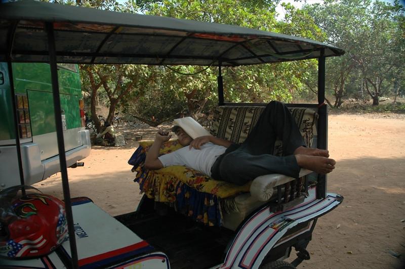 Man Napping at the Tuk-Tuk - Angkor, Cambodia