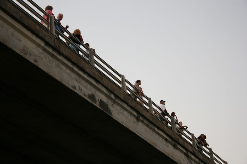 People gathered on the bridge to watch the bats flying from under the bridge at dusk