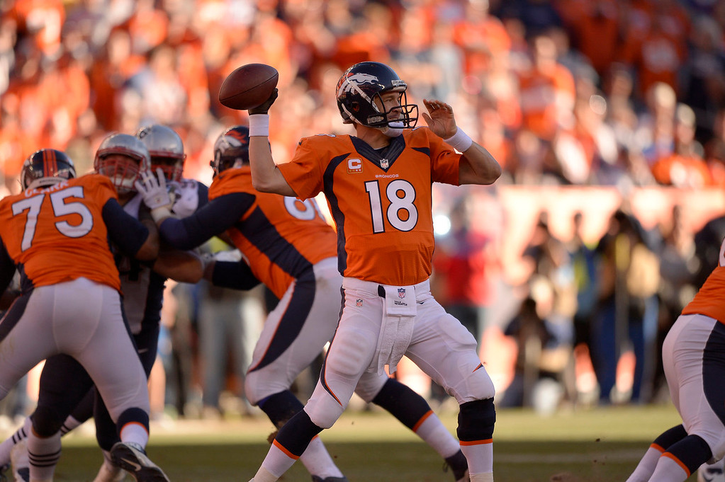 . Denver Broncos quarterback Peyton Manning (18) throws during the third quarter. The Denver Broncos vs. The New England Patriots in an AFC Championship game  at Sports Authority Field at Mile High in Denver on January 19, 2014. (Photo by John Leyba/The Denver Post)
