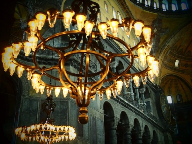 Photos of Istanbul: Glowing lights inside the main dome of Ayasofia